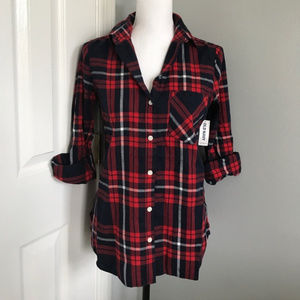 9e43f292cbf63 OLD NAVY RED BLUE PLAID FLANNEL